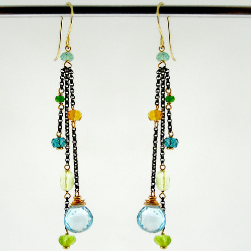 dancing queen - tango sky blue topaz OX earrings