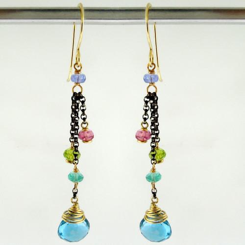 dancing queen - minuet  swiss blue topaz OX earrings