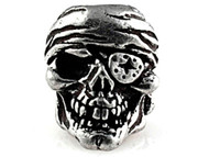 One Eye Jack Skull Pewter Bead