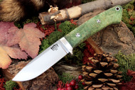 Classic Drop Point Hunter A2 Green & Gold Elder Burl - Mosaic Pins