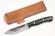 Lon Humphrey Vanguard Black Canvas Micarta - Scandi Ground #7