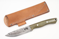 Lon Humphrey Vanguard Green Canvas Micarta - Scandi Ground #3