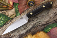 Bark River Mini Bush Seax Black G-10 - Yellow Liners - Brass Pins