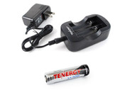 Tenergy Dual 18650 Battery Charger with One 18650 Battery