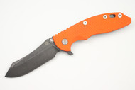 "Hinderer 3.5"" XM-18 Skinner - Battle Black - Blaze Orange G-10 - Working Finish - Blue Clip & Filler"