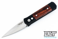 Pro-Tech Godson - Black Handle - Cocobolo Inlay - Satin Blade