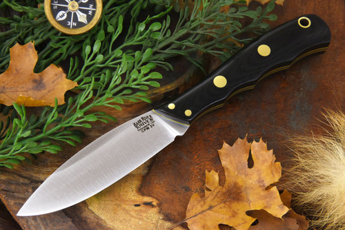 Bark River Lil' Canadian 3V LT Black G-10 - Yellow Liners - Brass Pins