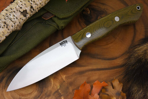 Bark River Bush Saex Green Canvas Micarta - Red Liners