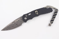 Pro-Tech TR-4 Skull Limited Edition - Black Knurled Handle - THOR Damasteel Blade