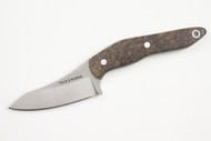 True Saber N2 20CV Neck Knife - Stabalized Ash Burl - Dark #2