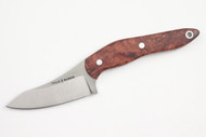 True Saber N2 20CV Neck Knife - Stabalized Dark Red Burl Walnut
