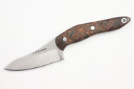 True Saber N2 20CV Neck Knife - Stabalized Maple Burl - Dark Green & Brown