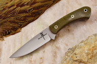 Zoe Crist Kestrel Green Canvas Micarta - Red Liners - Mosaic Pins