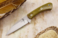 Zoe Crist Goshawk Green Canvas Micarta - Red Liners - Mosaic Pins