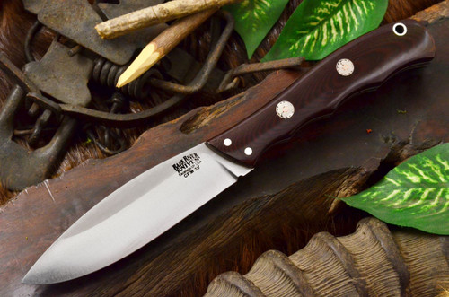 Bark River Canadian Special 3V Maroon Linen Micarta - White Liners - Mosaic Pins