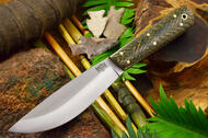 Bark River Hudson Bay Trade Knife Green Herringbone Micarta - White & Natural Liners