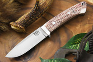Bark River Classic Drop Point Hunter Elmax Drunken Coffeebag Micarta - Matte - White & Natural Liners