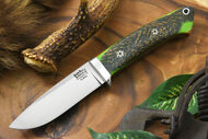 Bark River Classic Drop Point Hunter Elmax Green Herringbone Micarta - Toxic Green & Natural Liners - Mosaic Pins