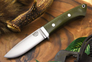 Bark River Classic Drop Point Hunter Elmax Green Linen Micarta - Red Liners