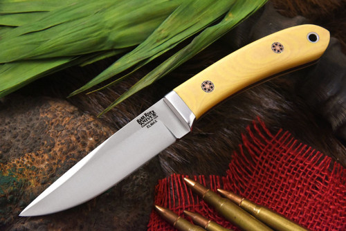 Bark River Blackwater II Antique Ivory Micarta - Red Liners - Mosaic Pins