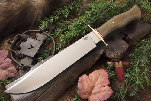 Bark River 1909 Michigan Bowie - Moran Handle - Green Canvas Micarta
