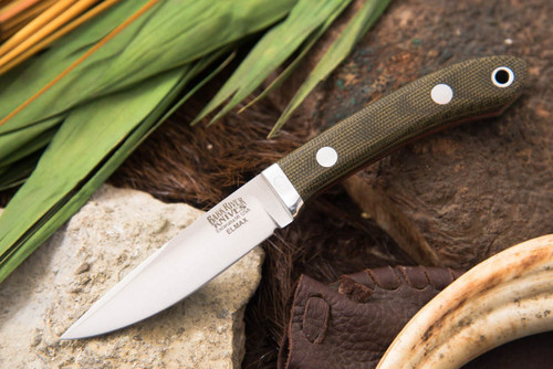 Bark River Blackwater Green Canvas Micarta - Red Liners