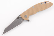 "Hinderer 3.5"" XM-18 Fatty Wharncliffe - Coyote Brown G-10 - Blue Anodized"