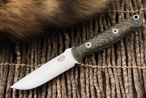 Bark River Bravo EDC Green Herringbone Micarta - White & Natural Liners - Mosaic Pins