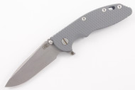 "Hinderer 3.5"" XM-18 Fatty Spanto - Gray G-10 - Working Finish Blade - Battle Blue"