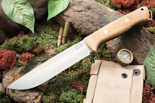 Bark River Bravo 1.5 S35VN Field Natural Canvas Micarta - Matte - Green Liners - Brass Pins
