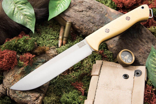 Bark River Bravo 1.5 S35VN Field Antique Ivory Micarta - Red Liners - Mosaic Pins