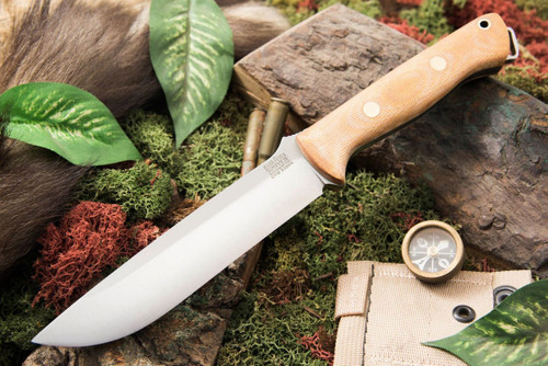 Bark River Bravo 1.5 S35VN Natural Canvas Micarta - Matte - Green Liners - Brass Pins