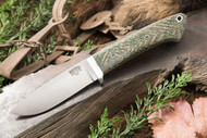 Classic Drop Point Hunter A2 Green Herringbone Micarta - White & Natural Liners - Mosaic Pins