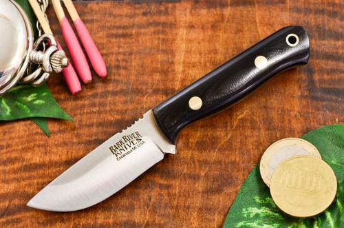 Bark River Bravo Micro Elmax Black G-10 - Yellow Liners - Brass Pins