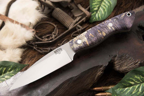 Bark River Bush Seax Bantam Purple Elder Burl - White Liners #1