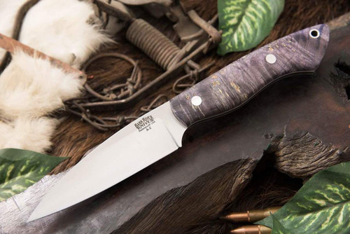 Bark River Bush Seax Bantam Purple Elder Burl - White Liners #2