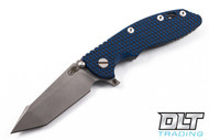 "Hinderer 3.5"" XM-18 Fatty Harpoon Tanto - Black & Blue G-10 - Full Working Finish"