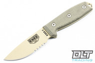 ESEE 3S - Partially Serrated - Grean Sheath - Desert Tan Blade