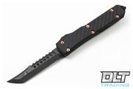Microtech 119-16CF Ultratech Hellhound - Carbon Fiber / Copper Hardware - Damascus Standard