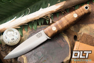 Mini Bushcrafter 3V Dark Curly Maple - Red Liners - Brass Hardware - #2