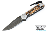 Chris Reeve Large Sebenza 21 - Raindrop Damascus - Spalted Beech Inlay - #2