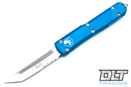 Microtech 123-11BL Ultratech S/E - Blue Handle - Contoured - Stonewash Blade - Partially Serrated