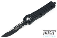 Microtech 143-2T Combat Troodon S/E - Black Handle - Two-Tone Black Blade - Partially Serrated