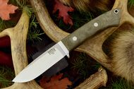 Classic Drop Point Hunter A2 Green Canvas Micarta - Matte