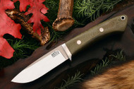 Classic Drop Point Hunter A2 Green Linen Micarta - Red Liners