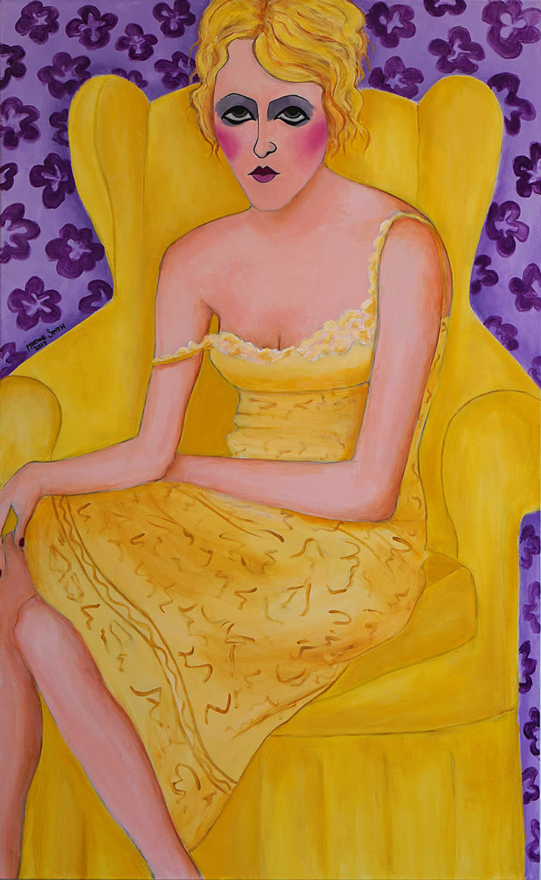 Woman on Yellow Chair