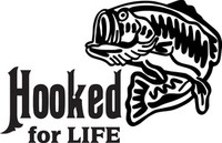 Hooked Decal FSN1 #34 Bass Boat/Truck Window Stickers