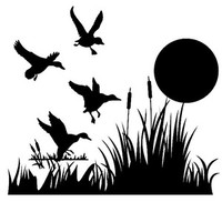 Ducks In Grass W/Sun Decal Waterfowl Window Sticker