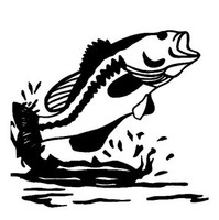 Bass  Decal WD#94 Fishing Boat Window Stickers