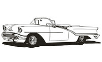 "1957 Olds Conv. Decal,12"" Vinyl Window Sticker"